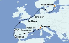 Itinéraire de la croisière Transatlantiques et Grands Voyages 2022 13 jours à bord du Costa Favolosa