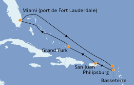 Itinéraire de la croisière Caraïbes de l'Est 9 jours à bord du Carnival Freedom