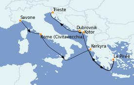 Itinéraire de la croisière Grèce & Adriatique 9 jours à bord du Costa Luminosa