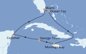 Itinéraire de la croisière Caraïbes de l'Ouest 8 jours à bord du MSC Seaside