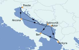 Itinéraire de la croisière Grèce & Adriatique 8 jours à bord du MSC Splendida