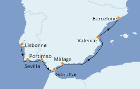 Itinéraire de la croisière Méditerranée 9 jours à bord du Azamara Journey
