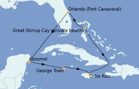 Itinéraire de la croisière Caraïbes de l'Ouest 8 jours à bord du Norwegian Prima
