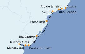 Itinéraire de la croisière Amérique du Sud 11 jours à bord du Seven Seas Mariner