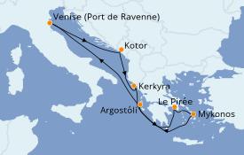 Itinéraire de la croisière Grèce & Adriatique 8 jours à bord du Rhapsody of the Seas