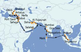 Itinéraire de la croisière Dubaï - Emirats 43 jours à bord du Seven Seas Explorer