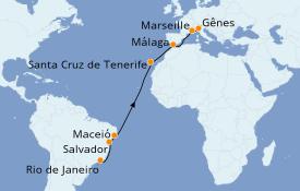 Itinéraire de la croisière Transatlantiques et Grands Voyages 2022 16 jours à bord du Costa Pacifica