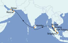 Itinéraire de la croisière Asie 15 jours à bord du Queen Mary 2