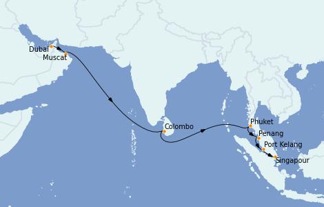 Itinéraire de la croisière Asie 14 jours à bord du Queen Mary 2