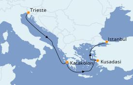 Itinéraire de la croisière Grèce & Adriatique 5 jours à bord du MSC Fantasia