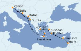 Itinéraire de la croisière Grèce & Adriatique 13 jours à bord du Seven Seas Voyager