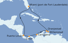 Itinéraire de la croisière Caraïbes de l'Est 12 jours à bord du Serenade of the Seas