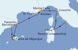 Itinéraire de la croisière Méditerranée 9 jours à bord du Seven Seas Voyager