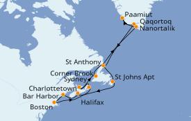 Itinéraire de la croisière Canada 18 jours à bord du ms Rotterdam