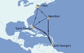 Itinéraire de la croisière Bahamas 8 jours à bord du Insignia