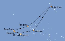Itinéraire de la croisière Polynésie 11 jours à bord du Regatta