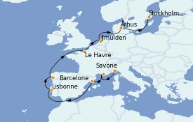 Itinéraire de la croisière Transatlantiques et Grands Voyages 2022 14 jours à bord du Costa Favolosa
