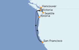 Itinéraire de la croisière Alaska 8 jours à bord du ms Volendam