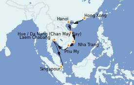 Itinéraire de la croisière Asie 13 jours à bord du Celebrity Solstice