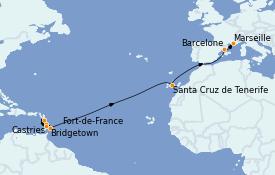 Itinerario de crucero Trasatlántico y Grande Viaje 2023 15 días a bordo del Costa Fascinosa