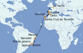 Itinéraire de la croisière Amérique du Sud 20 jours à bord du MSC Preziosa