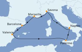 Itinéraire de la croisière Méditerranée 8 jours à bord du Costa Fortuna