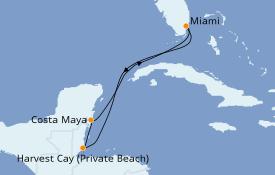 Itinéraire de la croisière Caraïbes de l'Ouest 6 jours à bord du Norwegian Encore