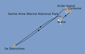 Itinéraire de la croisière Océan Indien 9 jours à bord du Le Bougainville