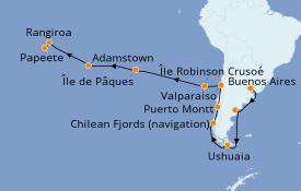 Itinéraire de la croisière Amérique du Sud 30 jours à bord du Jules Verne