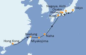 Itinéraire de la croisière Asie 13 jours à bord du Norwegian Sun