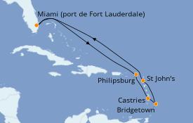 Itinéraire de la croisière Caraïbes de l'Est 10 jours à bord du Celebrity Reflection
