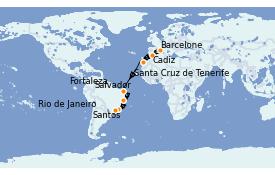 Itinéraire de la croisière Transatlantiques et Grands Voyages 2021 16 jours à bord du MSC Preziosa