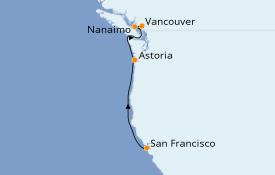 Itinéraire de la croisière Alaska 5 jours à bord du Grand Princess
