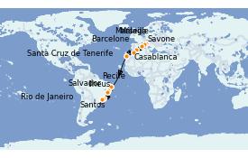 Itinéraire de la croisière Transatlantiques et Grands Voyages 2021 19 jours à bord du Costa Favolosa