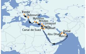 Itinéraire de la croisière Transatlantiques et Grands Voyages 2022 21 jours à bord du MSC Opera