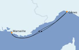 Itinéraire de la croisière Méditerranée 3 jours à bord du MSC Preziosa
