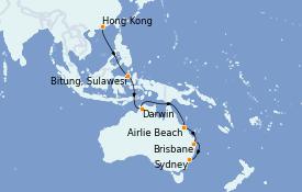 Itinéraire de la croisière Australie 2023 18 jours à bord du Queen Mary 2