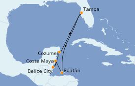 Itinéraire de la croisière Caraïbes de l'Ouest 8 jours à bord du Brilliance of the Seas
