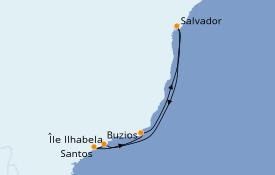 Itinéraire de la croisière Amérique du Sud 7 jours à bord du Costa Favolosa