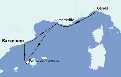 Itinéraire de la croisière Méditerranée 5 jours à bord du MSC Preziosa