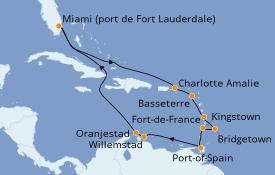 Itinéraire de la croisière Caraïbes de l'Est 15 jours à bord du Island Princess