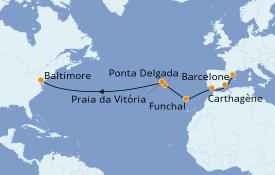 Itinéraire de la croisière Méditerranée 15 jours à bord du Carnival Legend