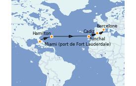 Itinéraire de la croisière Méditerranée 14 jours à bord du Queen Elizabeth