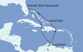 Itinéraire de la croisière Caraïbes de l'Est 9 jours à bord du Carnival Breeze