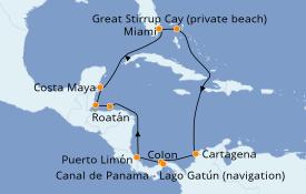 Itinéraire de la croisière Caraïbes de l'Ouest 13 jours à bord du Norwegian Joy