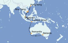 Itinéraire de la croisière Australie 2022 17 jours à bord du Royal Princess