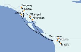 Itinéraire de la croisière Alaska 12 jours à bord du MS Regatta