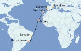 Itinéraire de la croisière Tour du Monde 2022 16 jours à bord du MSC Poesia