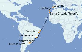 Itinéraire de la croisière Transatlantiques et Grands Voyages 2022 18 jours à bord du MSC Orchestra