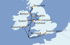 Itinéraire de la croisière Îles Britanniques 13 jours à bord du Seven Seas Splendor